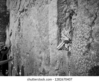 JERUSALEM, ISRAEL - OCTOBER 18, 2018: Close-up of prayer notes at the Western Wall