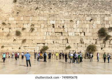 JERUSALEM ,ISRAEL - OCTOBER 20 2017  Jerusalem. The famous Jewish shrine is a crying wall in the old town