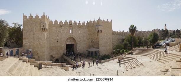 Jerusalem / Israel - October 2018: Damascus Gate old walls in Jerusalem, Israel.