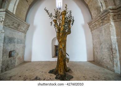 Jerusalem, Israel - October 22, 2015: Interior of the The Last Supper Room in Jerusalem city