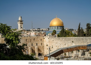 JERUSALEM, ISRAEL - OCTOBER 3: View of the Dome of the Rock and the Western Wall on the Temple Mount in the Old City of Jerusalem, Israel on October 3, 2016