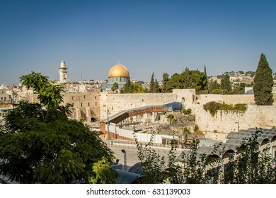 JERUSALEM, ISRAEL - OCTOBER 3: View of the Western Wall, the Dome of the Rock and the Mughrabi Gate on the Temple Mount in the Old City of Jerusalem, Israel on October 3, 2016