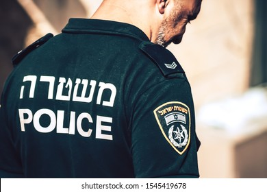 Jerusalem Israel October 6, 2019 View of the Israeli police patrolling in front of the western wall in the old city of Jerusalem in the afternoon