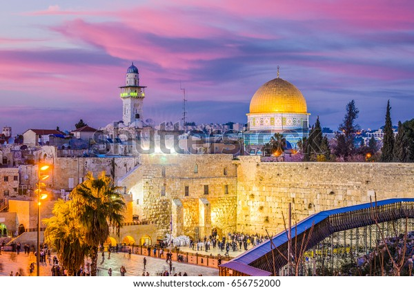 Jerusalem, Israel old city at the Western Wall and the Dome of the Rock.