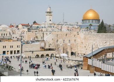 Jerusalem, Israel - Saturday, March 11, 2017 - Western wall and square in Jerusalem