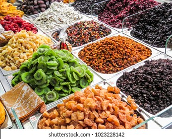 Jerusalem, Israel -  seeds, legumes and dried fruits  in the Machane Yehuda Market in Jerusalem