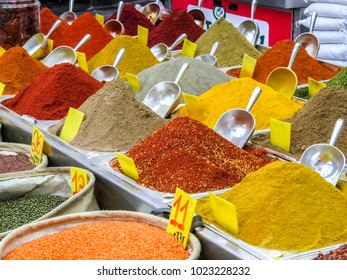 Jerusalem, Israel -  seeds, legumes and spices in the Machane Yehuda Market in Jerusalem