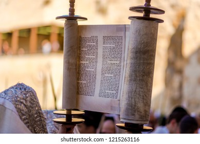 Jerusalem, Israel - Sep 26 2018: Reading the Torah scroll at the Western wall for Sukkot holiday