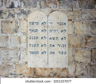 Jerusalem, Israel, September 10, 2015 :  Tablets with the ten commandments of the wall near the grave of King David in the old city of Jerusalem, Israel