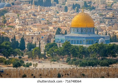 """JERUSALEM, ISRAEL. September 15, 2017. Dome of the Rock (""""Qubat as-Sakhra"""" in Arabic) Muslim sanctuary at the Temple Mount in the Old city of Jerusalem."""