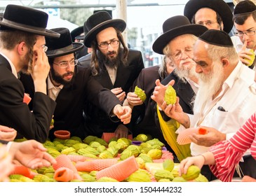 JERUSALEM, ISRAEL - SEPTEMBER 20, 2018: Pre-holiday bazaar in Jerusalem on the eve of Sukkot. The concept of photo tourism. Religious Jews choose etrog - the fruit of  magnificent tree