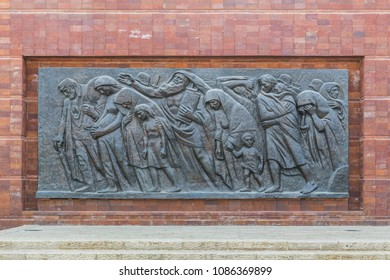 JERUSALEM, ISRAEL - SEPTEMBER 24, 2017: It is bas-relief 'In The Last Path' in the Vashavi Ghetto Square of the Holocaust Memorial Museum (Yad Vashem).