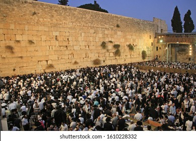 Jerusalem, Israel - September 25, 2018. Shabbat celebration at Kotel Western Wall. It is usually much more people the on Friday night than any other time of the week.