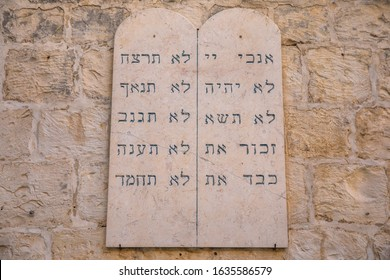 Jerusalem, Israel - September 28,2019 - Stone tablets with commandments in Jerusalem