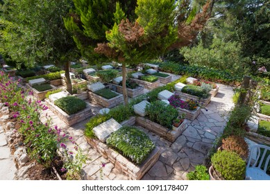 Jerusalem , Israel - September 4, 2016: Graves at Mount Herzl Military Cemetary.