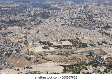 JERUSALEM, ISRAEL. September 5, 2012. The Old City of Jerusalem bird eye view stock image. Tourism icon, a must see travel destination, holy sites of three religions: Judaism, Islam, Christianity.