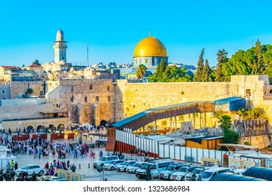 JERUSALEM, ISRAEL, SEPTEMBER 6, 2018: People are praying at the western wall in the old town of Jerusalem, Israel