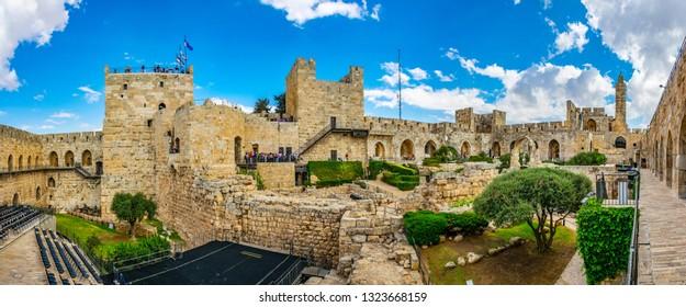 JERUSALEM, ISRAEL, SEPTEMBER 8, 2018: Inner courtyard of the tower of David in Jerusalem, Israel