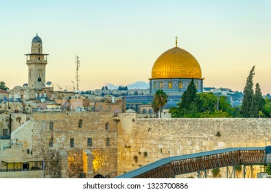 JERUSALEM, ISRAEL, SEPTEMBER 8, 2018: Sunset view of people are praying at the western wall in the old town of Jerusalem, Israel