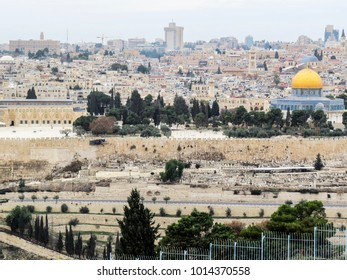 Jerusalem, Israel - view of The Old City of Jerusalem from the Mount of Olives