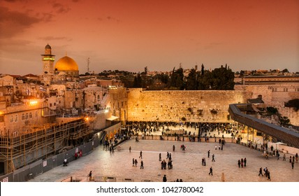 Jerusalem, Israel, Western Wall and the Dome of the Rock, old city, the Temple Mount