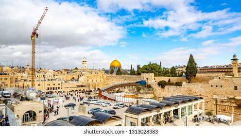 Jerusalem, Israel-01.08.2019:   The Temple Mount - Western Wall and the golden Dome of the Rock mosque in the old city of Jerusalem, Israel