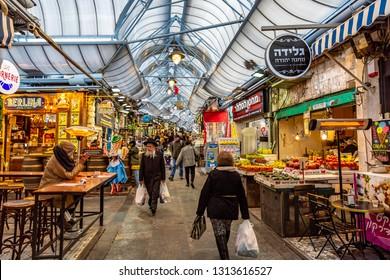 Jerusalem, Israel-01.09.2019: Mahane Yehuda Market is a marketplace in Jerusalem, Israel