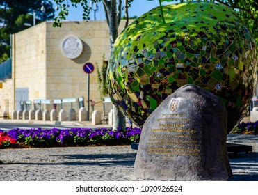 Jerusalem ISRAEL-May 14 2018: Commemorative stone on the newly renamed United States Square in front of American embassy in Jerusalem