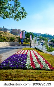 Jerusalem ISRAEL-May 14 2018: Flower bed representing an American flag on the road to the new US embassy in Jerusalem