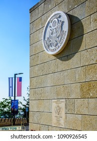 Jerusalem ISRAEL-May 14 2018: New US Embassy in Jerusalem seal and commemorative plaque with American and Israeli flags