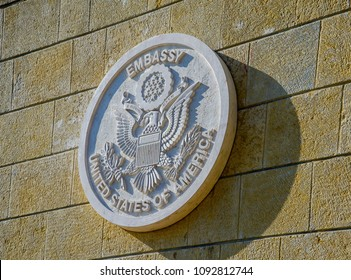 Jerusalem ISRAEL-May 14 2018: New US Embassy in Jerusalem, embassy seal on the stone wall
