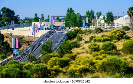Jerusalem ISRAEL-May 14 2018: Road towards a new US embassy in Jerusalem, adorned with American and Israeli flags