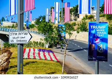 Jerusalem ISRAEL-May 14 2018: Street sign on a road towards a new US embassy in Jerusalem, adorned with American and Israeli flags
