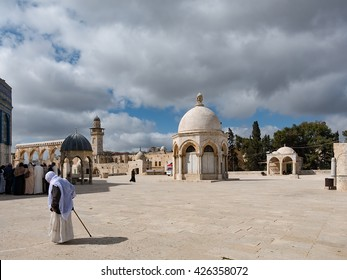 JERUSALEM, ISRAEL/PALESTINE - March 18, 2016 - The Dome of Ascension or Qubbatul Mikraj, a small structure with dome roof beside the famous Dome of Rock or Qubbatus Sakhrah
