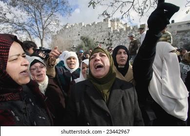 Jerusalem - JANUARY 02: Demonstration against war in Gaza strip on January 02, 2009 at Old City, Jerusalem, Israel