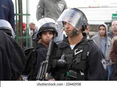 Jerusalem - JANUARY 02: Police at the demonstration against war in Gaza strip on January 02, 2009 at Old City, Jerusalem, Israel