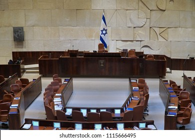 JERUSALEM - JANUARY 2017:  The chamber of deputies in the Israeli Parlimanent is arranged with desks in a semi-circle , and a computer screen for each member.