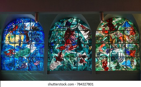 JERUSALEM - JANUARY 2017:  Hadassah Hospital's synagogue is decorated with Chagall's colorful stained glass windows depicting the tribes of Israel, as seen in Jerusalem circa 2017.
