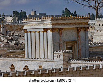 JERUSALEM - JANUARY 2017:   The Israel Museum displays outdoors a large scale model of Jerusalem as it was 2000 years ago, including the rebuilt Temple of Solomon.