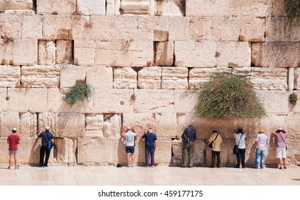Jerusalem: Jews praying at the Western Wall on September 5, 2015. The Western Wall, called Wailing Wall or Kotel, is a surviving remnant of the Temple Mount and the holiest place for Jews to pray