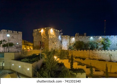 JERUSALEM - JULY 18, 2008: Night view on Jaffa Gate in Old City of Jerusalem with stairway in foreground against dark sky background on July 18, 2008 in Jerusalem.