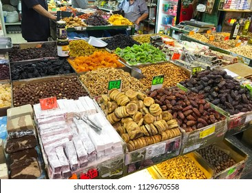 JERUSALEM - June 13, 2018: Mahane Yehuda Market vendor. Popular with locals and tourists alike, the market features more than 250 vendors.