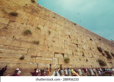 JERUSALEM - June 19: Jewish prayers and pilgrims beside Western Wall June 19, 2015 in Jerusalem, Israel.