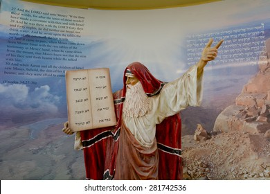 JERUSALEM - MAR 25 2015:Prophet Moses in Bible city in Jerusalem, Israel.Bible City exhibit a series of large life-size dioramas that depict 62 of the most monumental scenes from the Old Testament