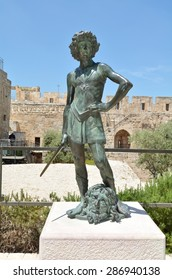JERUSALEM - MAY 05 2015:David and Goliath sculpture at the Tower of David and archeological garden in Jerusalem, Israel.It's a famous landmark of Jerusalem with historical significant.