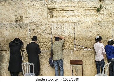 JERUSALEM - MAY 1: Jews gather to pray at the Wailing Wall, the last remaining wall of Herod's Temple and a sacred site for Jews and Christians on May 1, 2011 in Jerusalem, Israel.
