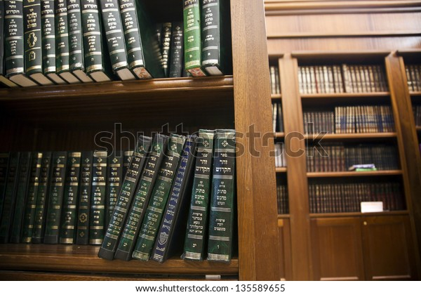 JERUSALEM - MAY 21: A library of holy Jewish scripture,located inside the caves of the Wailing Wall on May 21 2010 in Jerusalem, Israel.