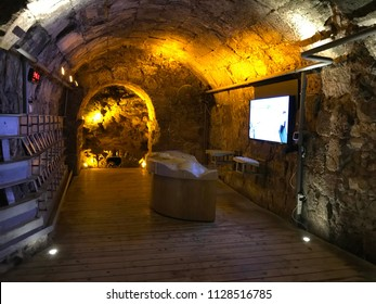 JERUSALEM - MAY 9, 2018: Western Wall Tunnel. The tunnel is adjacent to the Western Wall and is located under buildings of the Old City of Jerusalem.