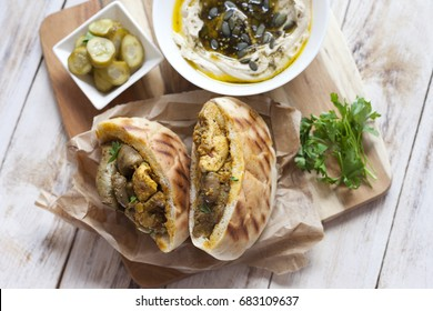 Jerusalem mixed grill or Meorav Yerushalmi. Grilled meat dish. It consists of chicken hearts, spleens and liver mixed with bits of lamb cooked on a flat grill. Israeli cuisine.
