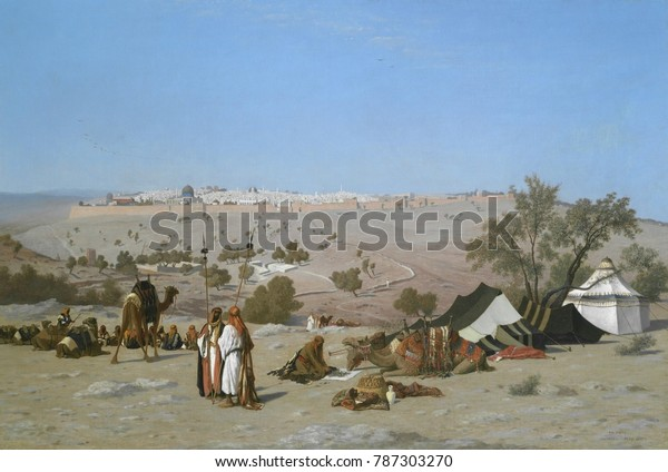 JERUSALEM FROM THE MOUNT OF OLIVES, by Charles-Theodore Frere, 1880, French painting, oil on canvas. Frere traveled and lived in Algeria and the Eastern Mediterranean for several years between 1836 an